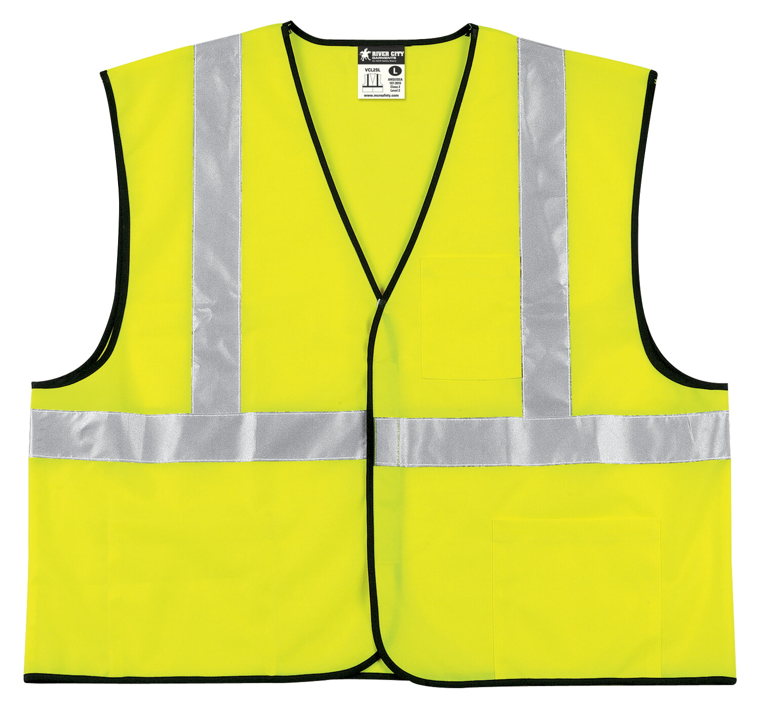 MCR Safety VCL2SL  Green, Class 2, Economy Vest Lime