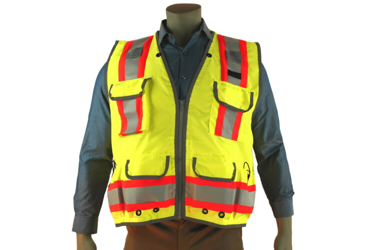 High Visibility Class 2 Green Heavy Duty Surveyors Vest Two-Toned - Indian River VG400