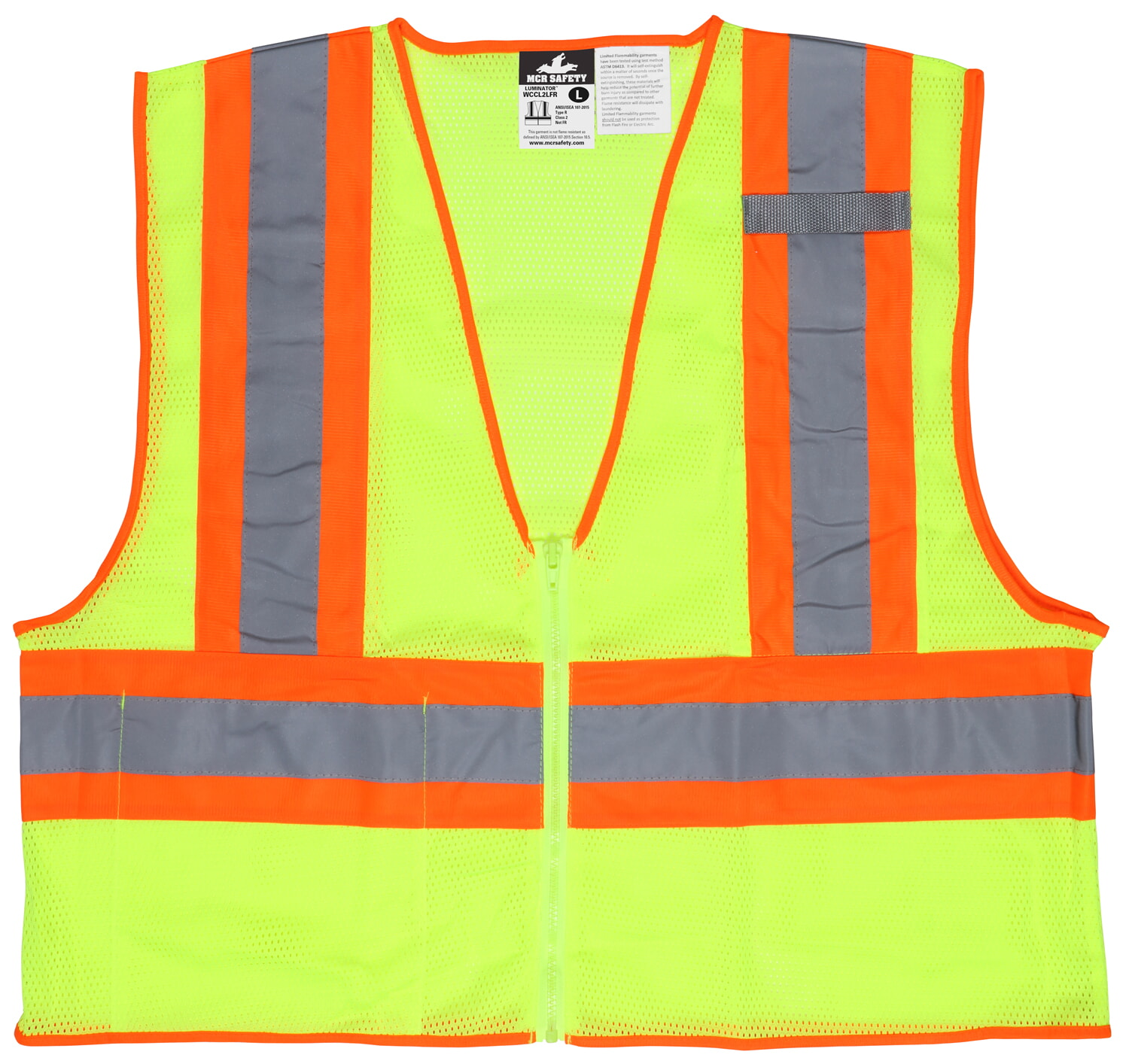 MCR Safety WCCL2LFR Poly, Mesh Safety Vest, Limited Flammability, 4 1/2