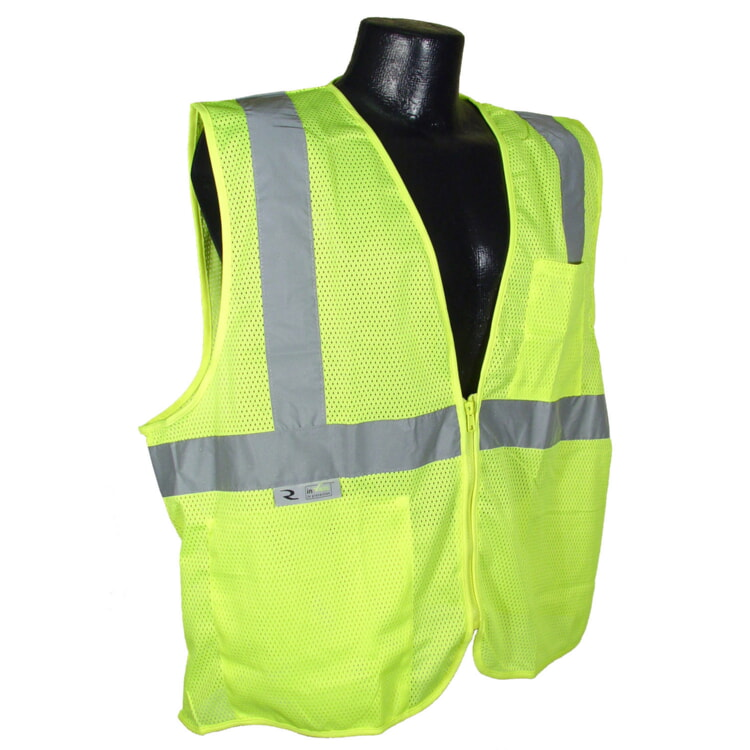 Radians SV2ZGM Economy Type R Class 2 Mesh Safety Vest with Zipper-Lime/Green