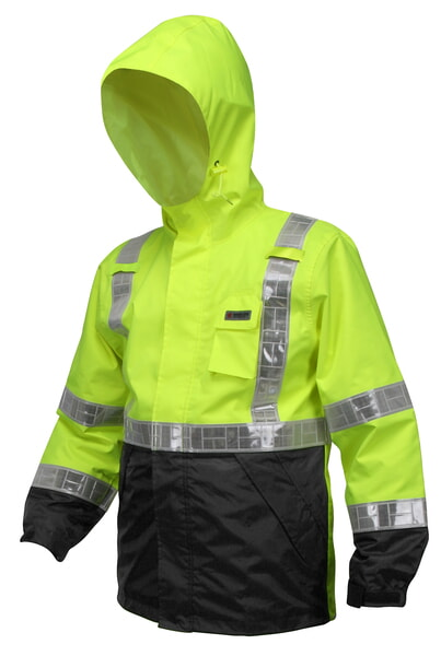 MCR Safety 598SJH Breathable Pu/Poly, Class 3 w/ Hood Lime 1 Pc Jacket