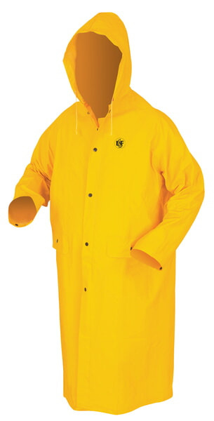 MCR Safety FR200C CLASSIC.35mm, PVC/Poly, 49, Limited Flammability,  Yellow 2 Pc Coat