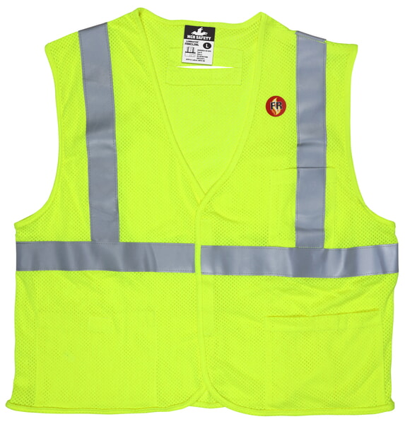 MCR Safety FRMCL2MLM FR Modacrylic Vest, Class 2, Mesh Lime