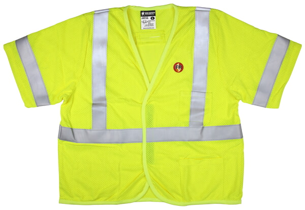 MCR Safety FRMCL3MLS FR Modacrylic Vest, Class 3, Mesh Lime