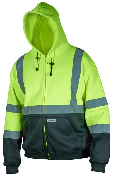 MCR Safety SSCL3LZ Sweatshirt, Shaded, Class 3, Zipper Lime-Black 1 Pc Jacket