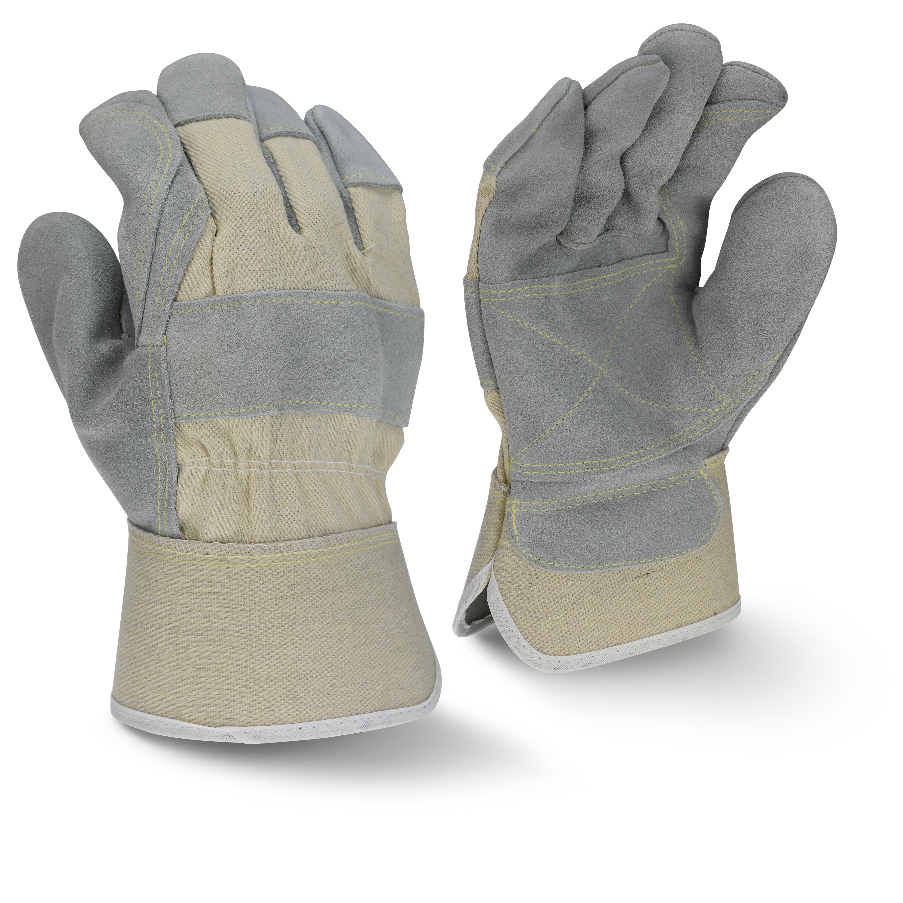 Radians RWG3400WDP Side Split Gray Cowhide Leather Double Palm Gloves