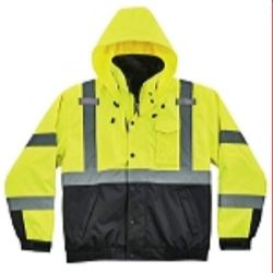 Ergodyne 8381-LIME Green High Visibility 3-In-1 Winter Bomber Jacket with Zip Out Fleece Liner