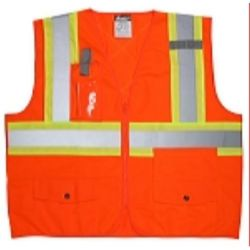 MCR Safety SURVCS2PO CSA, Survey Pocket, Silver/  Orange Safety Vests