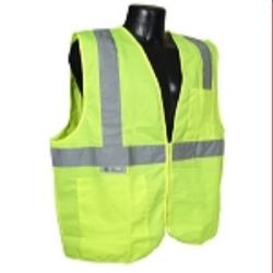 Radians SV2ZGS Economy Type R Class 2 Solid Safety Vest with Zipper-Lime/Green