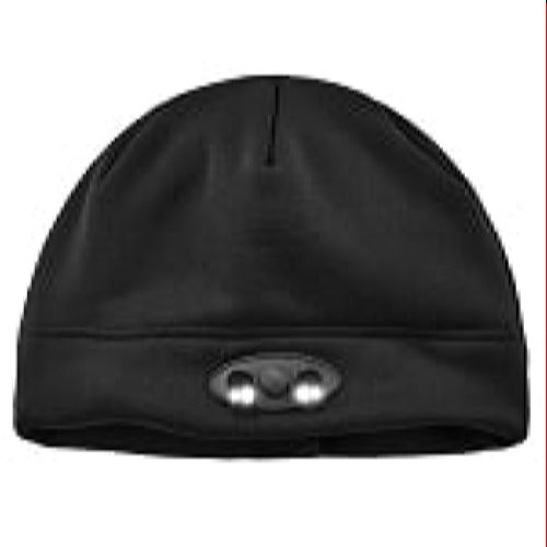 Ergodyne 6804 Black Skull Cap Beanie Hat with LED Lights