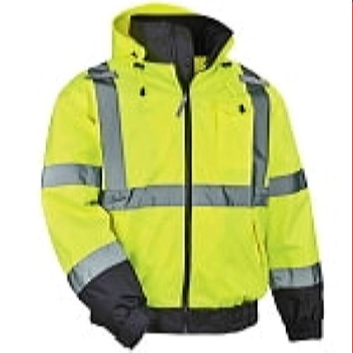 Ergodyne 8379-LIME Green High Visibility Winter Bomber Jacket with Zip Out Fleece Liner