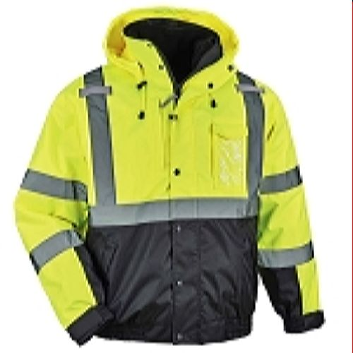 Ergodyne 8381-LIME Green-Black Bottom High Visibility 3-In-1 Winter Bomber Jacket with Zip Out Fleece Liner