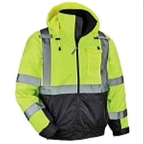 Ergodyne-8377-LIMEBLACK Green High Visibility Lime Winter Quilted Bomber Jacket with Black Bottom