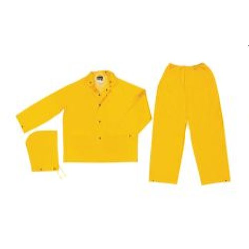 MCR Safety 2903 Classic, .35mm, PVC/Poly, Detachable Hood, Snap Front, Waist Pant Yellow 3 Pc Suit