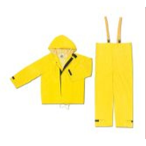 MCR Safety 3902 Hydroblast, .28mm, PVC/Nylon/PVC, w/attached hood & bib pants Yellow 2 Pc Suit