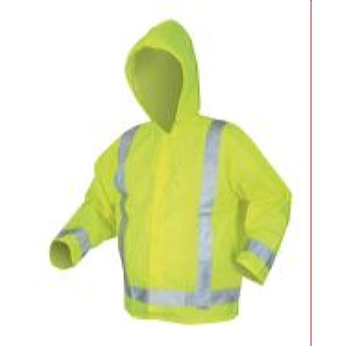 MCR Safety 500RJH Poly/PU, Class 3, with attached hood and silver reflective stripes Lime 1 Pc Jacket