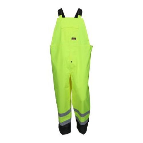 MCR Safety 508SBP PU/Poly, Bib  Overall , Class 3, Shaded Lime-Black 1 Pc Bib