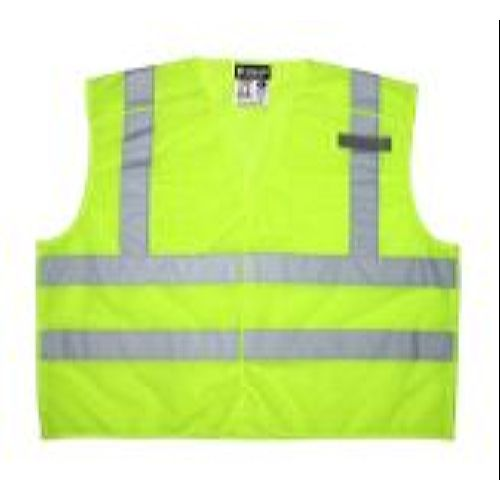 MCR Safety CL2ML2 Class 2, Tear-Away, 2 Horizontal Stripes  Lime Safety Vests