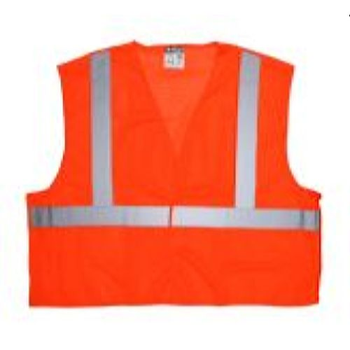 MCR Safety CL2MO Class 2, Tear-Away, Poly Safety Vest, Orange