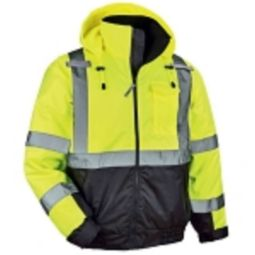 Ergodyne 8377-LIME High Visibility Quilted Bomber Jacket with Black Bottom
