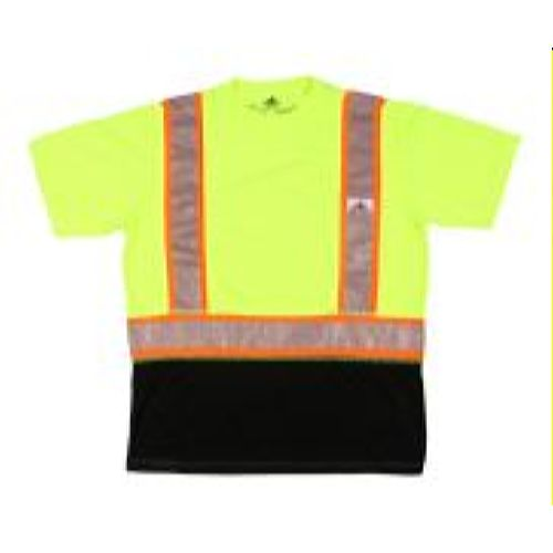 MCR Safety FFSTC2SL Short Sleeve T-Shirt, Class 2, Birdseye,  Shaded Lime-Black