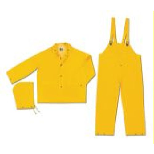 MCR Safety FR2003 Classic, .35mm, PVC/Poly,Limited Flammability Yellow 3 Pc Suit