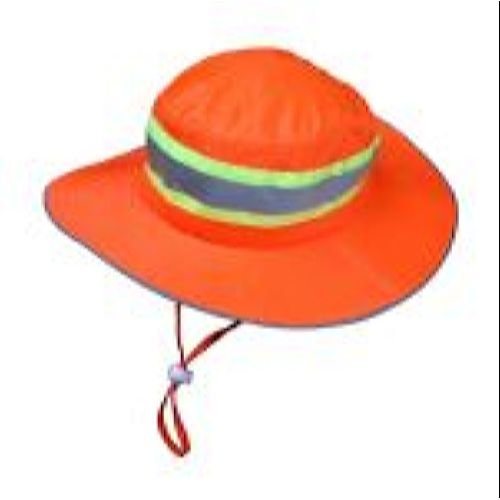 MCR River City HVH100 Boonie Hat, High-Vis Orange Mesh, solid brim,2