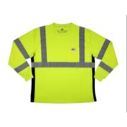 MCR Safety LSTSCL3ML Class 3, T-Shirt Long Sleeve, Polyester Birdseye Mesh Fabric, 2 Inch Silver Stripes, Left Chest Pocket Lime
