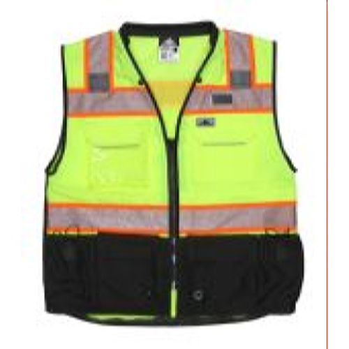 MCR Safety PSURVCL2LS Class 2, Solid Front, Mesh Back L Lime Safety Vests