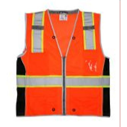 MCR Safety SURVCL2O Class 2, Surveyor, Silver/ L Orange Safety Vests