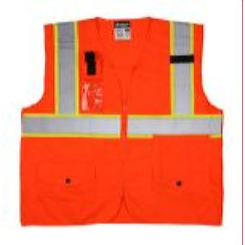 MCR Safety SURVCL2PO Class 2, Surveyor, Silver/  Orange Safety Vests