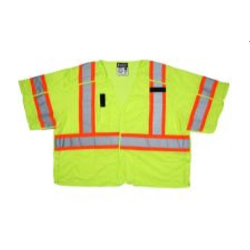 MCR Safety SURVCL3L Class 3, Surveyor, Silver/  Lime Safety Vests