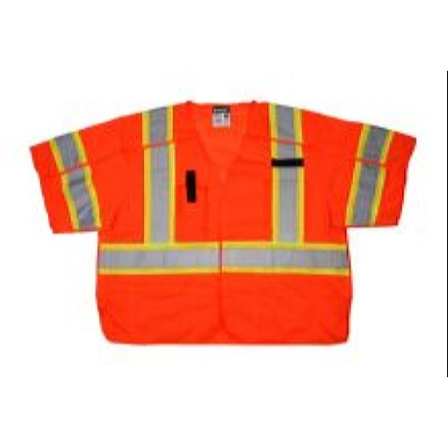 MCR Safety SURVCL3O Class 3, Surveyor, Silver/ L Orange Safety Vests