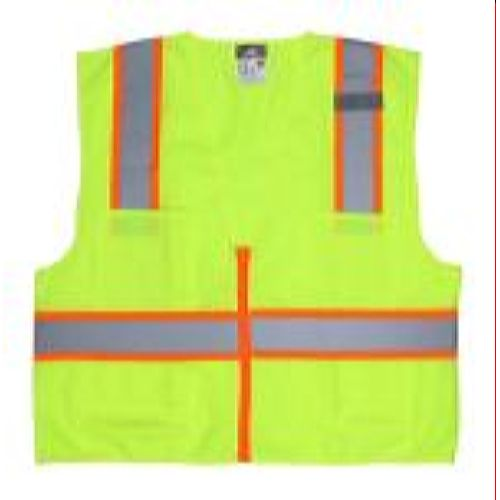 MCR Safety SURVL Class 2, Poly Safety Vest, 3 /Silver Lime