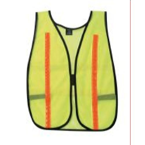 MCR River City V200FS Poly, Mesh Safety Vest, 1 Red/ Stripe Lime