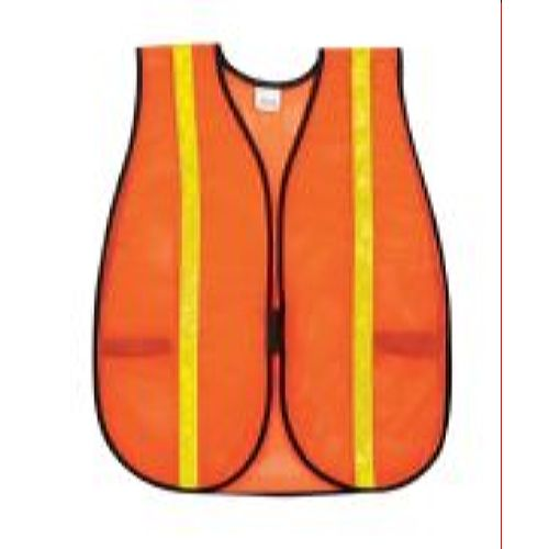 MCR River City V211R1 Poly, Mesh Safety Vest, 1 Vinyl Orange