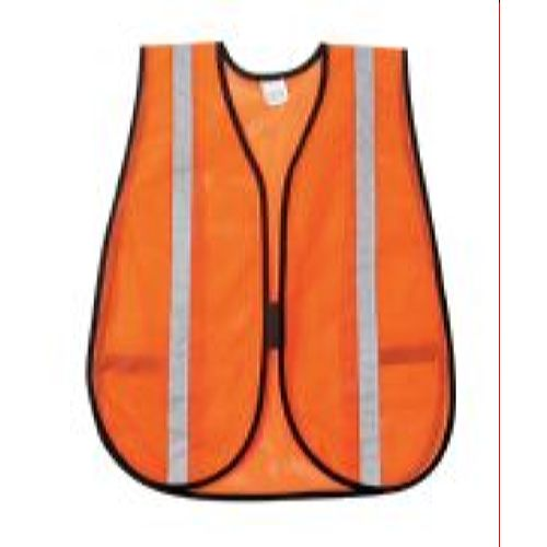 MCR River City V211SR Poly, Mesh Safety Vest, 1 Silver Stripe,  Orange