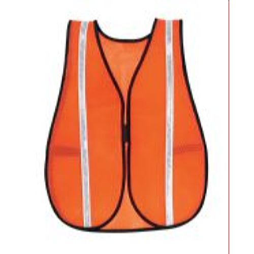 MCR River City V211WR Poly, Mesh Safety Vest, 3/4 White Stripe Orange