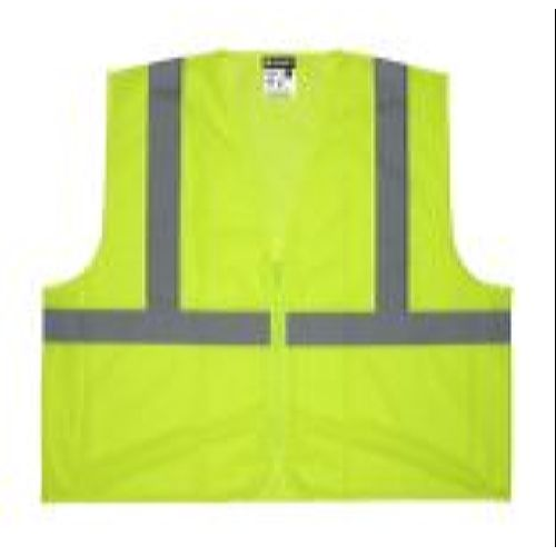 MCR Safety V2CL2MLZ V2 Class 2, Mesh, Zipper, No Pockets Lime Safety Vests
