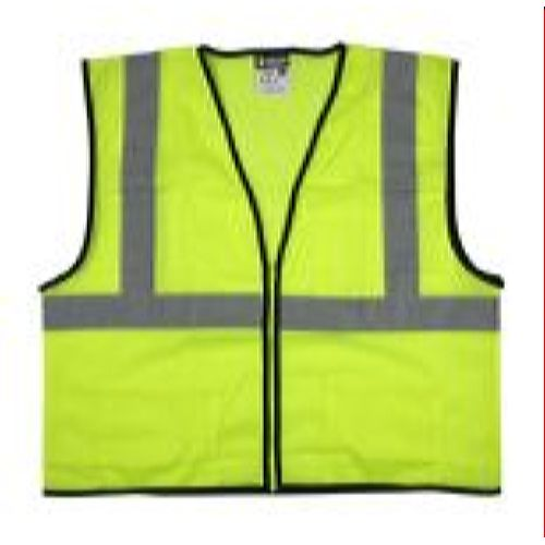 MCR Safety VCL2MLZ  Green, Class 2, Economy, Zipper, Mesh  Lime Safety Vests