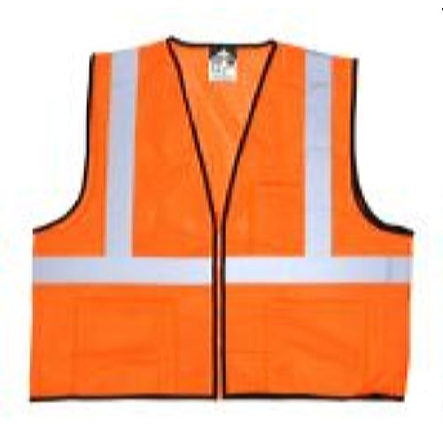 MCR Safety VCL2MOZ FL , Class 2, Economy, Zipper, Mesh  Orange Safety Vests