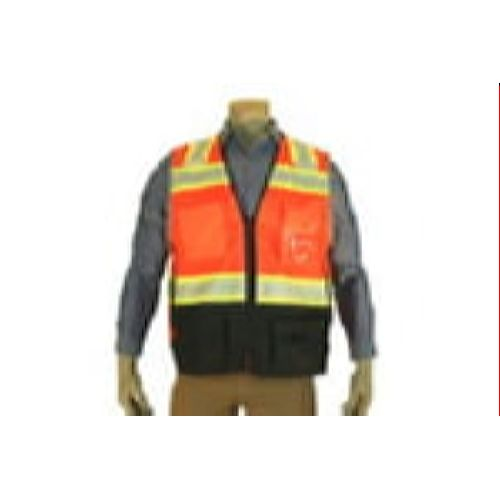 Indian River VR500 High Visibility Class 2 Orange Heavy Duty Surveyors Vest Chainsaw Black Bottom