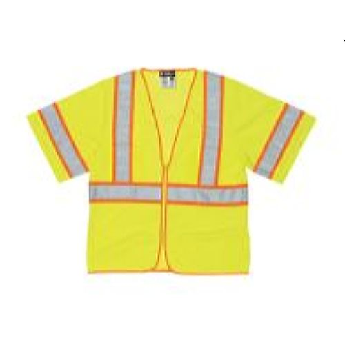 MCR Safety WCCL3L Class 3, Mesh w / Silver Stripes Lime Safety Vests