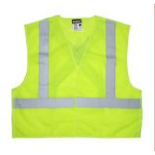MCR Safety XCL2ML Class 2, Tear-Away, Poly, X-Back  Lime Safety Vests