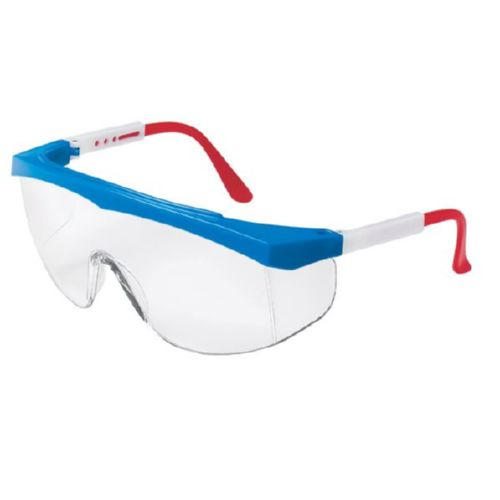 MCR Safety SS130 SS1 Red/White/Blue Frame, Clear Lens