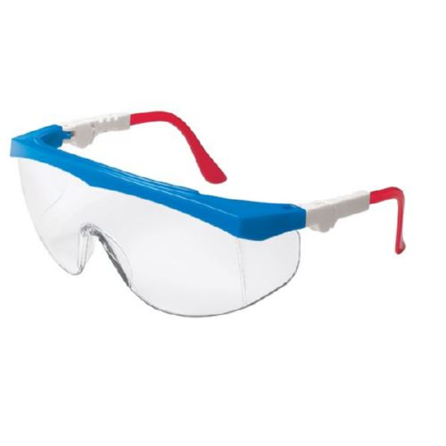 MCR Safety TK130 TK1 Blue/White/Red Frame, Clear Lens