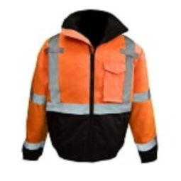 Radians SJ11QB-3ZOS Bomber Jacket Orange Class 3 Weatherproof Shell Black