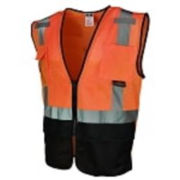 Radians SV7B-2ZOM Class 2 Surveyor Black Bottom Rear Plan Orange Safety Vest