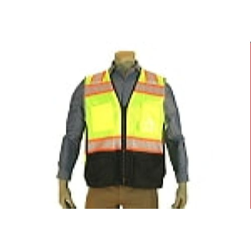 Indian River VG500 High Visibility Class 2 Green Heavy Duty Surveyors Vest Chainsaw Black Bottom