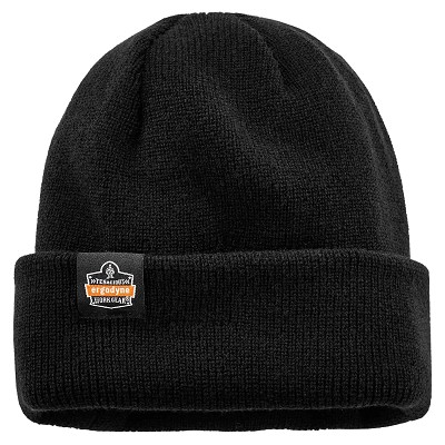 Ergodyne 6811Z  Black Rib Knit Hat with Zipper for Bump Cap Insert (bump cap not included)